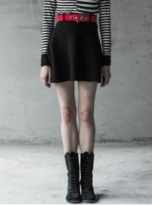 Steam Punk Female Elastic Woolen Red Belt High Waist Skirt