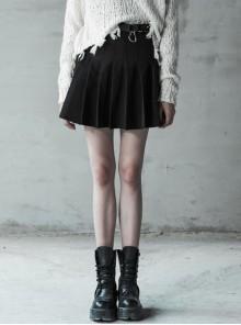 Steam Punk Female Casual Black Metal Buckle Pleated Skirt