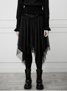 Gothic Female Black Binding V-shaped Waistband Mesh Skirt