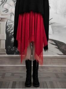 Gothic Female Red Binding V-shaped Waistband Mesh Skirt