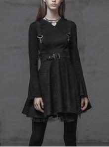 Steam Punk Female Casual Black Metal Buckle Strap Skirt