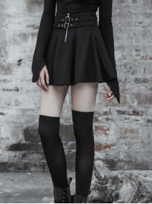 Steam Punk Female Causal Black Metal Zipper Belt Pleated Skirt