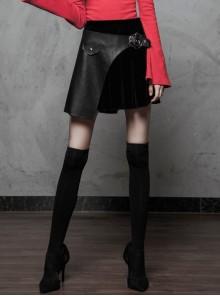 Steam Punk Female Velvet PU Leather Stitching Metal Buckle Pleated Skirt
