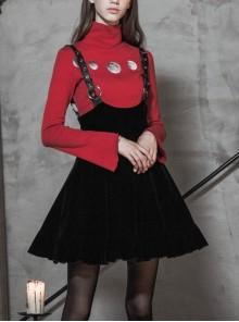 Steam Punk Female Casual Black Velvet Pleated Strap Skirt