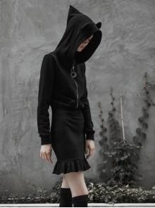 Gothic Female Black Hooded Lotus Leaf Hem Elastic Dress