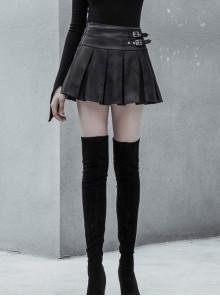 Steam Punk Female PU Leather Metal Buckle Skirt