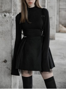Steam Punk Female Casual Black Strap Metal Buckle Skirt