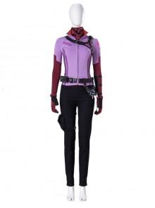 TV Drama Hawkeye Kate Bishop Purple Top Suit Halloween Cosplay Costume Set