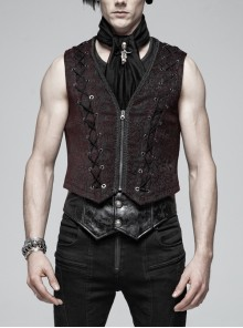 Front Chest Three-Dimensional Pattern Ribbon Metal Eyelets Lace-Up Dark Red Gothic Vest