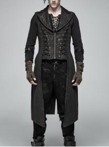Front Zipper Metal Eyelets Lace-Up Back Waist Hasp Black Punk Print Long Vest