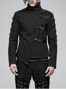 Stand-Up Collar Front Placket Asymmetrical Design Metal D-Buckle Leather Hasp Black Punk Coat