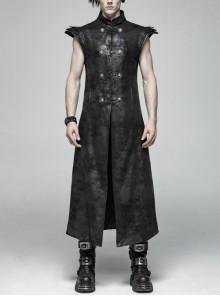 Stand-Up Collar Front Leather Hasp Armor-Shape Shoulder Black Punk Long Crack Weaved Vest