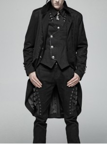 Stand-Up Collar Front Metal Button Vintage Cashew Lace Open Fork Front Hem Black Gothic Coat
