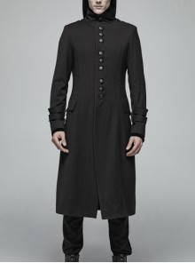 Stand-Up Collar Front Leather Button Long Sleeve Black Gothic Jacket