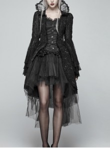 Fake Two-Piece Stand-Up Collar Front Chest Button Flare Sleeve Back Waist Lace-Up Black Gothic Jacquard Splice Lace Mesh Coat