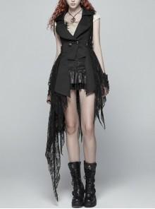 Front Metal Retro Button Side Hasp Asymmetric Lace Hem Black Gothic Chiffon Vest