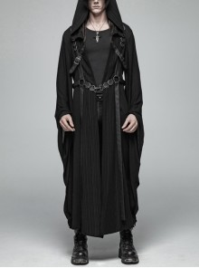Front Chest Metal Buckle Leather Strap Long Sleeve Black Punk Hooded Coat