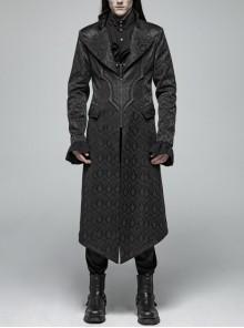 Stand-Up Collar V-Neck Front Metal Zipper Back Waist Lace-Up Black Gothic Retro Jacquard Coat