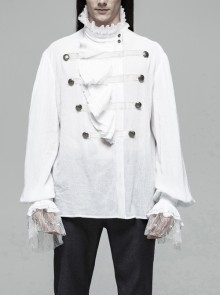 High Collar Front Chest Weave Strap Metal Retro Button Patchwork Cloth Ruffle Lantern Sleeve Lace Cuff White Gothic Shirt