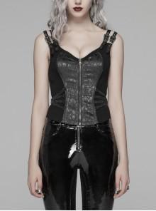 Metal Buckle Strap Front Metal Zipper Back Lace-Up Black Punk Jacquard Tight Vest