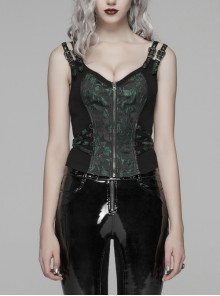 Metal Buckle Strap Front Metal Zipper Splice Dark Green Jacquard Back Lace-Up Black Punk Tight Vest