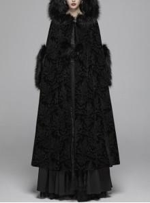 Black Gothic Fur Hood Front Fuzzy Ball Bandage Cloak
