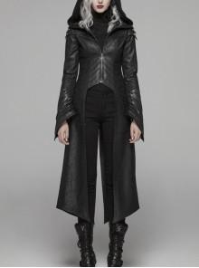 Armor-Shape Flare Sleeve Back Hem Slit Black Punk Branching Pattern Crack Knitted PU Long Coat
