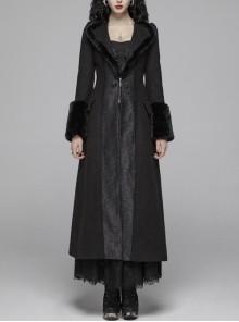 V-Neck Collar Retro Button Imitation Wool Cuffs Black Gothic Dark-Striped Jacquard Long Coat