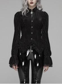 Black Dark Striped Velvet Metal Retro Button Lace Cuff Back Waist Lace-Up Gothic Blouse