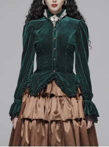 Green Dark Striped Velvet Metal Retro Button Lace Cuff Back Waist Lace-Up Gothic Blouse