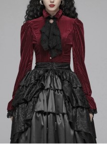 Red Dark Striped Velvet Metal Retro Button Lace Cuff Back Waist Lace-Up Gothic Blouse