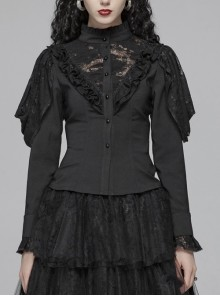 High Collar Front Chest Irregular Lace Little Lace Shawl Sleeve Back Waist Lace-Up Black Gothic Blouse