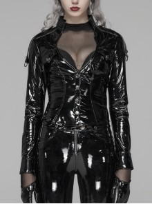Stand-Up Collar Front Chest Hollow-Out Metal Button Long Sleeve Black Punk Knit Bright PU Tight Blouse