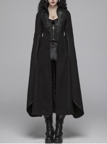 Stand-Up Collar Front Chest Metal Zipper Slit Cloak-Style Sleeve Back Waist Lace-Up Black Gothic Woolen Splice Jacquard Long Coat