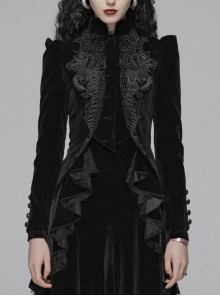 High Collar Front Chest Embroidery Button Long Sleeve Back Waist Lace-Up Black Gothic Weft Velvet Coat