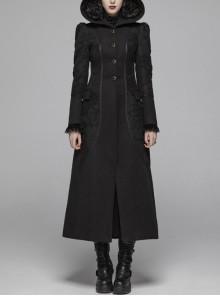 Black Sharp Cap Front Chest Metal Retro Button Long Sleeve Back Waist Lace-Up Gothic Long Woolen Coat