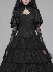 High Collar Front Chest Hollow-Out Applique Long Sleeve Lace Cuff Back Waist Lace-Up Black Jacquard Blouse