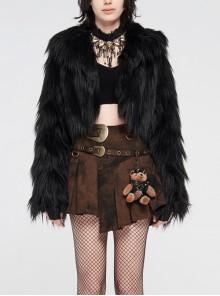 Black Long Sleeve Imitation Fur Short Punk Coat