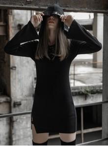 Gothic Dark Female Casual Hooded Elastic Binding Dress