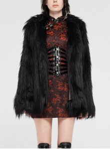 Loose-Fitting Imitation Fur Black Punk Long Sleeve Coat