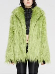 Loose-Fitting Imitation Fur Green Punk Long Sleeve Coat