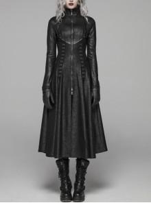 High Collar Front Zipper Metal Ring Woven Strap Back Waist Lace-Up Slit Hem Black Punk Crack Knitted Long Coat