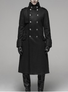 Stand-Up Collar Front Metal Retro Button Metal D-Buckle Long Sleeve Black Punk Coat