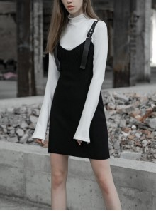 Steam Punk Female Casual Black Wool Elastic Strap Dress