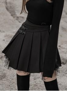 Steam Punk Female Black PU Leather Buckle Irregular Hem Pleated Skirt