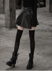Steam Punk Female Casual Black Metal Buckle PU Leather Skirt