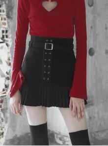 Steam Punk Female Black Metal Buckle Stitching Pleated Skirt