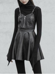 Steam Punk Female Black PU Leather Strap High Waist Dress