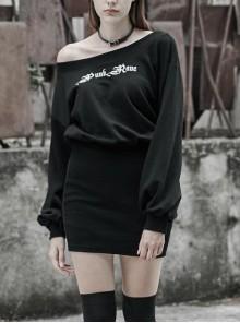 Steam Punk Female Casual Printed Hoodie High Waist Dress