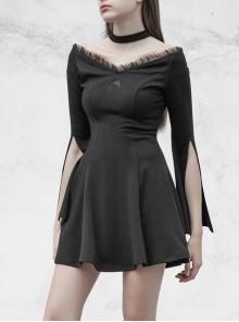 Gothic Female Dark Lunar Hollow V-neck High Waist Dress
